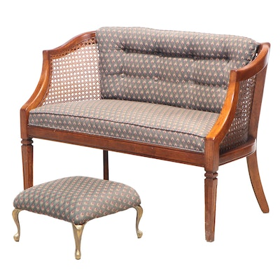 French Provincial Style Custom-Upholstered Hardwood Settee Plus Brass Footstool