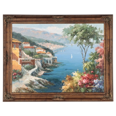 Oil Painting of Coastal Landscape, Late 20th Century