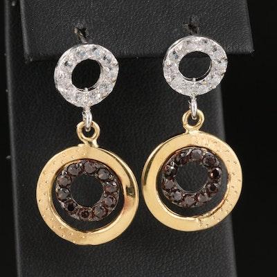 18K Garnet and Cubic Zirconia Circle Drop Earrings