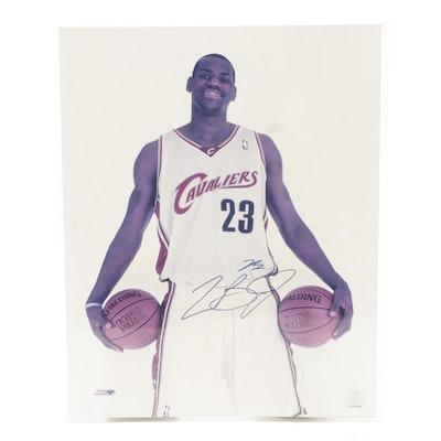 LeBron James Signed Cleveland Cavaliers NBA Basketball Photo Print, COA