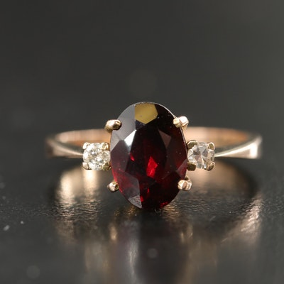 10K Garnet and Diamond Three Stone Ring