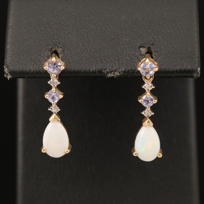 10K Opal, Tanzanite and Diamond Pendulum Earrings