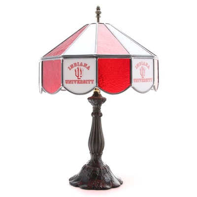 All American Lamps Indiana University Stained Glass Shade Table Lamp
