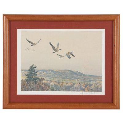 """Robert Bateman Offset Lithograph """"Canada Geese Over the Escarpment"""""""
