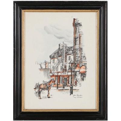 """Hand-Colored Lithograph After André Desjardins """"Vieux Montréal"""""""