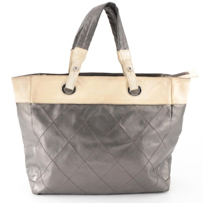 Chanel Medium Biarritz in Pewter Quilted Coated Canvas