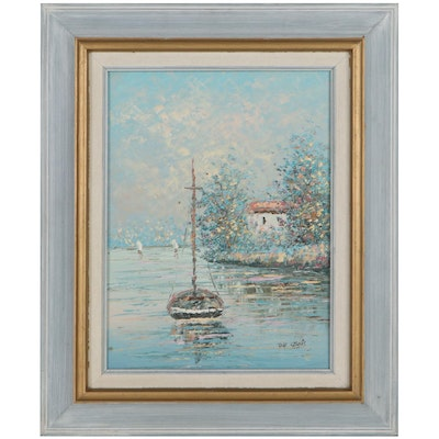 Impressionist Style Oil Painting of Boat on the Water, Mid to Late 20th Century
