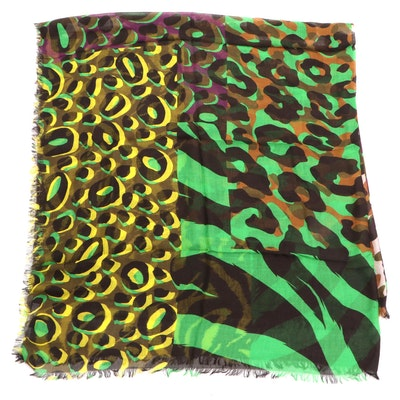 Versace Collection Shawl in Printed Modal-Cashmere
