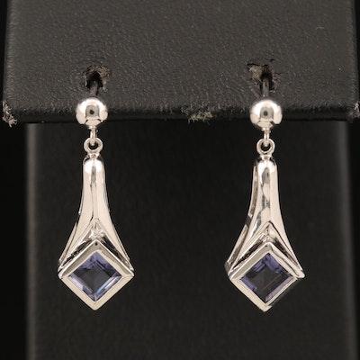 10K Iolite Pendulum Earrings