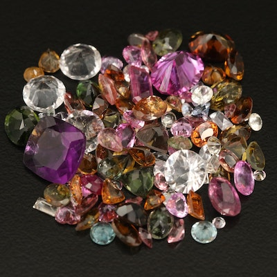 Loose 40.82 CTW Faceted Sapphire, Tourmaline, Fluorite and Additional Gemstones