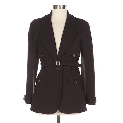 Chanel Belted Dark Brown Wool Jacket with Chain Trim CC Buttons