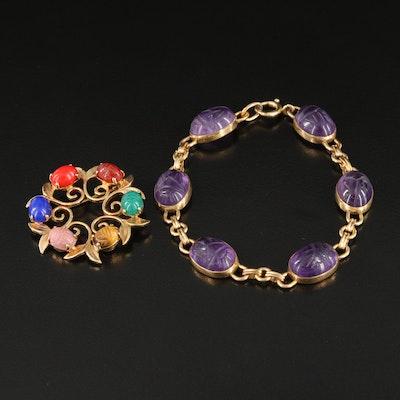 Vintage Gold-Filled Amethyst, Tiger's Eye, Rhodonite Scarab Brooch and Bracelet