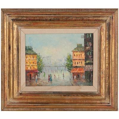Impressionist Style Street Scene Oil Painting, Late 20th Century