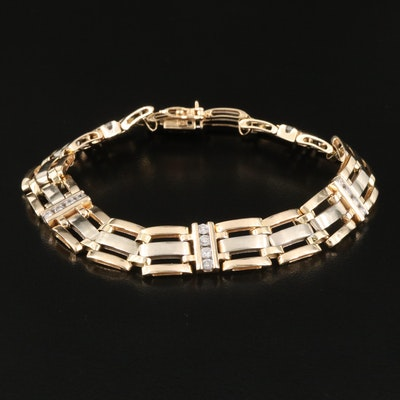 14K 1.00 CTW Channel Set Diamond Link Bracelet