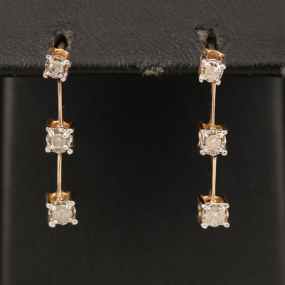 10K 0.20 CTW Diamond Graduated Drop Earrings