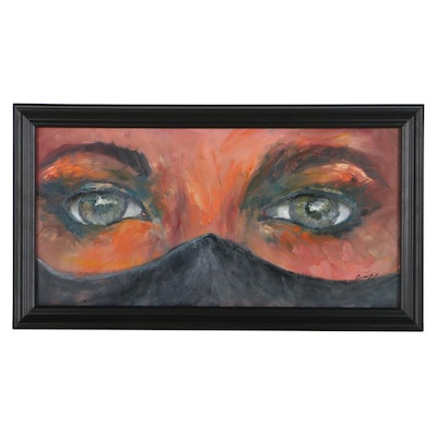 Jim Conroy Oil Painting of Eyes and Face Mask, 21st Century