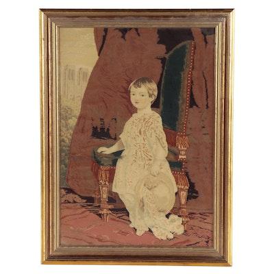 Needlepoint After Franz Xaver Winterhalter of Portrait of the Comte de Paris