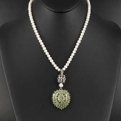 Sterling Pearl Necklace with Convex Peridot Cluster Pendant