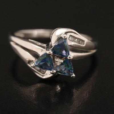10K Mystic Topaz and Diamond Crossover Ring