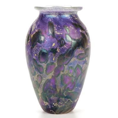 "Robert Eickholt ""Classic Tide Pool"" Handblown Iridescent Art Glass Vase"