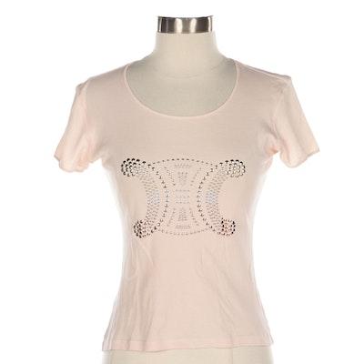 Celine Cap-Sleeve T-Shirt in Blush Cotton with Metal Stud Logo Embellishment