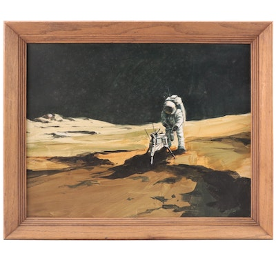 """Space-Themed Mixed Media Painting """"Man At Work On The Moon"""""""