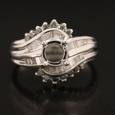 14K 0.63 CTW Diamond Semi-Mount Crossover Ring