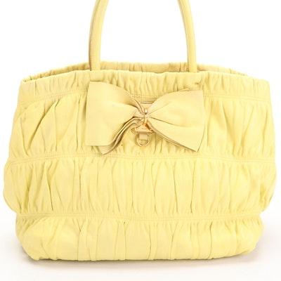 Prada Ruched Bow Bag in Polline Nappa Gaufre Leather
