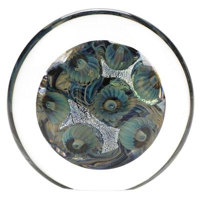 """Robert Eickholt """"Deep Sea"""" Handblown Art Glass Paperweight, 2000"""