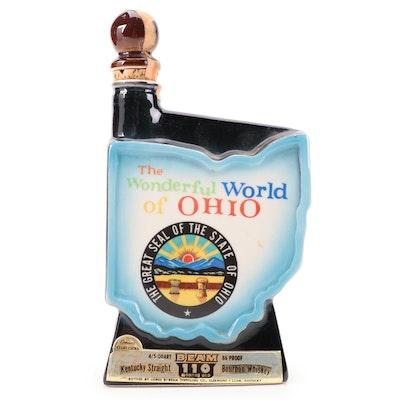 """Jim Beam """"The Wonderful World of Ohio"""" Porcelain Whiskey Decanter"""