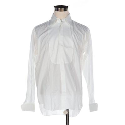 Men's Giorgio Armani Bib-Front Button-Down Tuxedo Shirt in White Cotton Poplin
