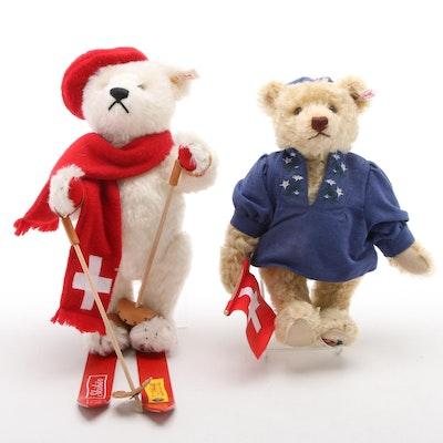 Steiff Swiss Motif Stuffed Mohair Teddy Bears with Accessories