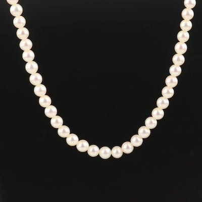 Round Pearl Necklace with 14K Clasp