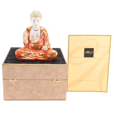 """Herend """"Buddha"""" Chrysanthemum d'Or with Gold Porcelain Figurine"""