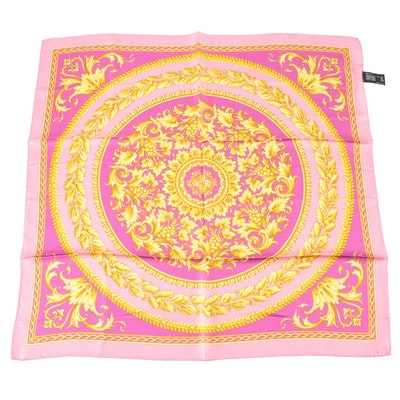 Versace Collection Neoclassical Style Scrolling Foliate Silk Scarf