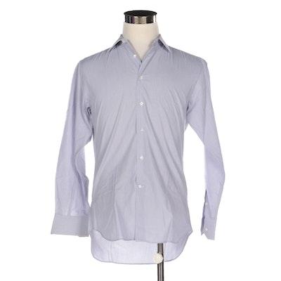 Men's Salvatore Ferragamo Button-Up Shirt in Blue-White Cotton