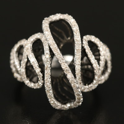 14K 0.75 CTW Diamond Wave Ring