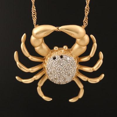 14K 0.14 CTW Diamond Crab Pendant Necklace