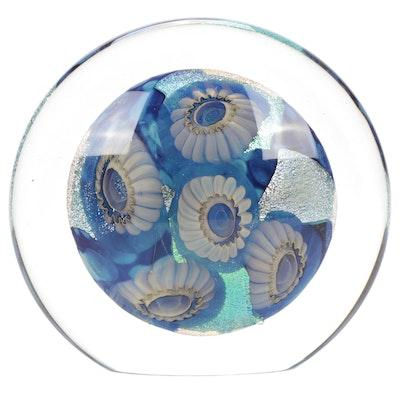 """Robert Eickholt """"Deep Sea"""" Handblown Iridescent Art Glass Paperweight, 2004"""