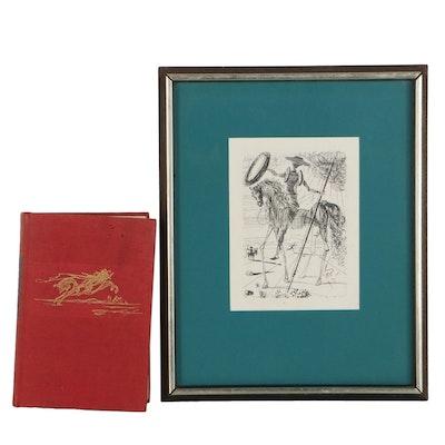 "Salvador Dali Restrike Etching ""Don Quixote"" and Benvenuto Cellini Autobiography"