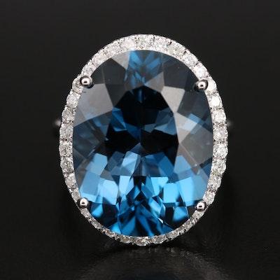 14K 20.11 CT London Blue Topaz and Diamond Ring