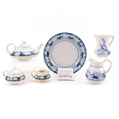 Nash Pottery Sugar and Creamer with Royal Doulton Tea Set, Late 20th Century