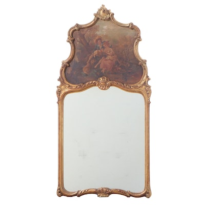 Louis XV Style Giltwood Trumeau Mirror, Early 20th Century