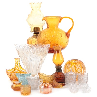 """Wayne Husted for Stelvia Glass """"Antigua"""" Amber Glass Pitcher and More"""