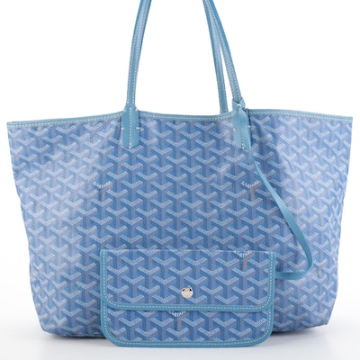Goyard St Louis Tote PM and Pouch in Blue-White Goyardine Monogram Coated Canvas