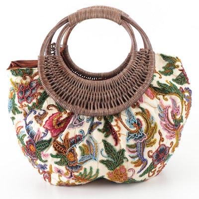 Treesje Floral Beaded Wicker Handle Bag