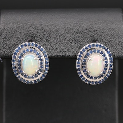 Sterling Opal Button Earrings with Double Sapphire Halos