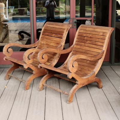 Pair of Outdoor Colonial Style Teak Plantation Armchairs