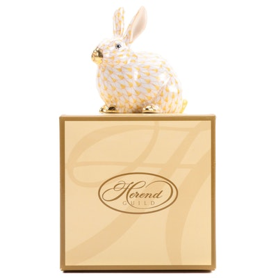 """Herend Guild Yellow Fishnet with Gold """"Chubby Bunny"""" Porcelain Figurine, 2006"""