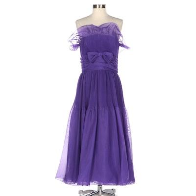 Frank Usher Purple Accordion Pleated Strapless Ruffle Occasion Dress